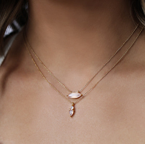 marquis necklace, gold, pink chalcedony