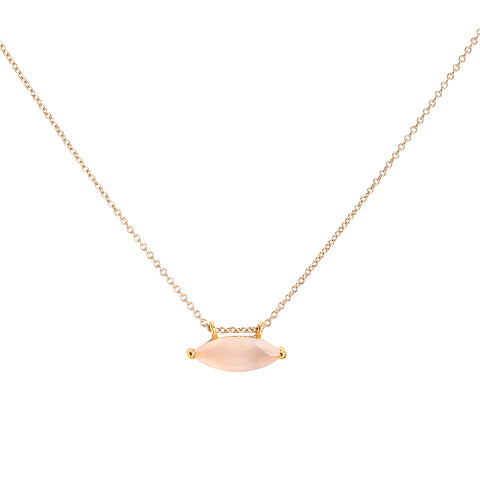 Marquis necklace, pink chalcedony, gold, necklace on white background