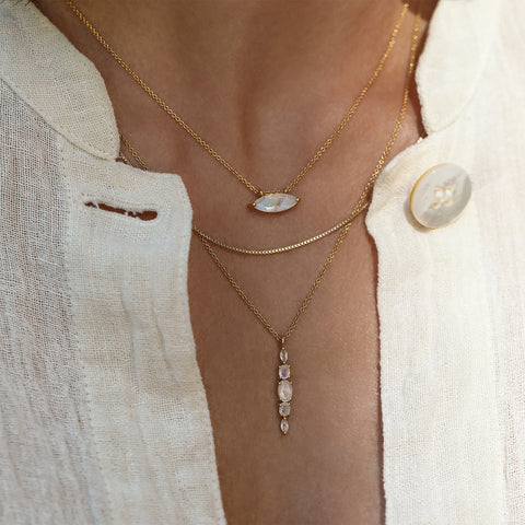leah alexandra moonstone gold layering necklace marquis necklace