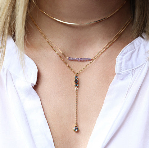 Maxine Necklace, London Blue Topaz, Gold, white top, blonde, layered necklaces