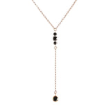 Maxine Black Garnet Necklace, Rosegold, Y Necklace, Lariat, Jewelry on white background