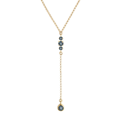 Maxine Necklace, London Blue Topaz, Gold, Jewelry on white background, drop necklace