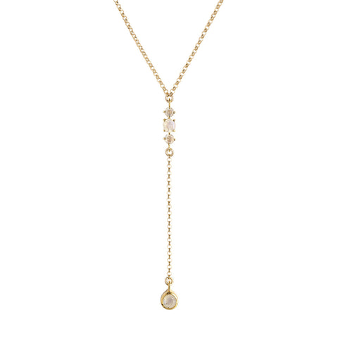 Maxine Moonstone Necklace, Gold, Necklace on white background