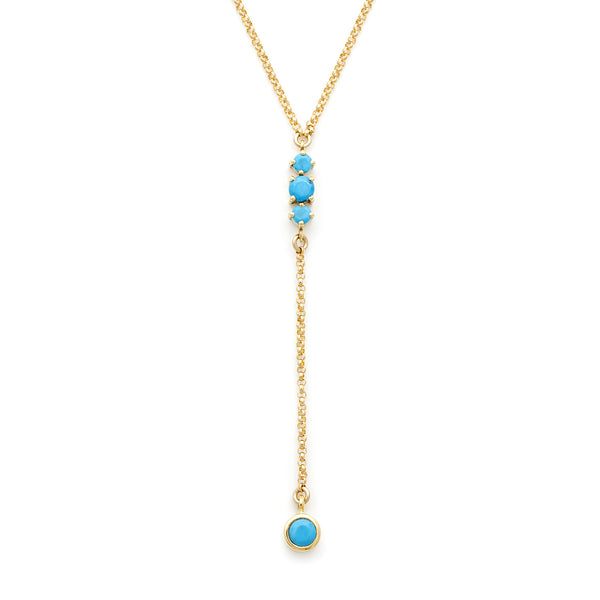 Maxine Turquoise Necklace, gold, y necklace, jewelry on white background