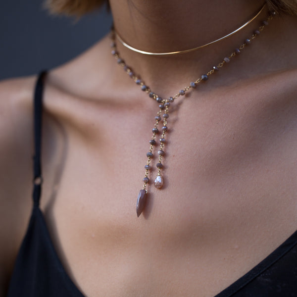 Melt Necklace, Blush Moonstone, Choker, layered necklaces, tan skin, necklaces with black top