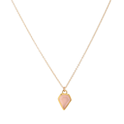 Gem necklace, pink chalcendony, gold, jewelry on white background