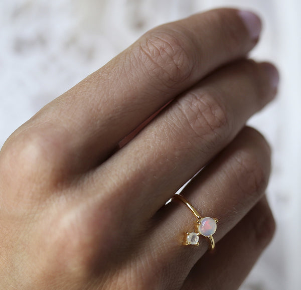 Leah Alexandra opal moonstone gold ring