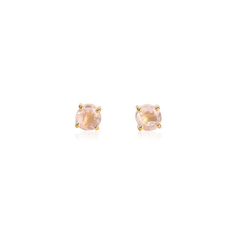 leah alexandra rose quartz gold prong studs