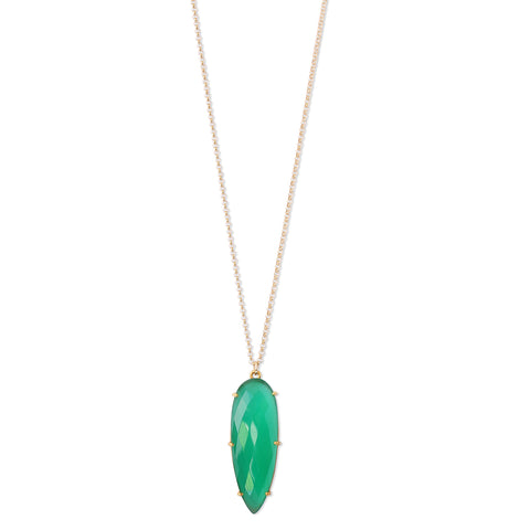 Prism Green Onyx Necklace, gold, long nacklace, jewelry on white background