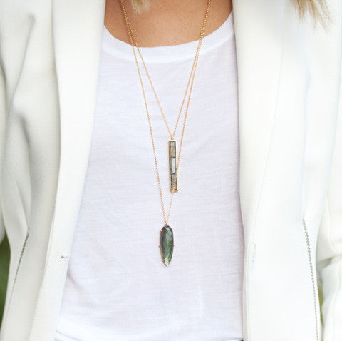 Prism Labradorite Necklace, gold, white top, white blazer, jewelry layers, long necklaces