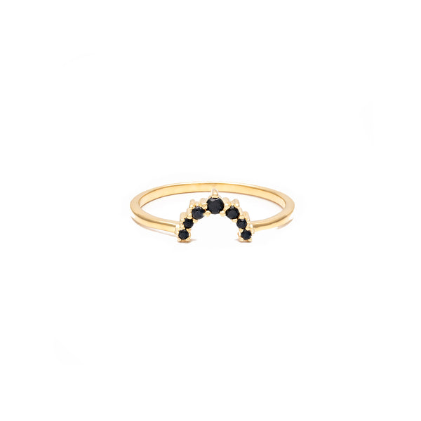 Leah Alexandra gold black garnet Rainbow Ring