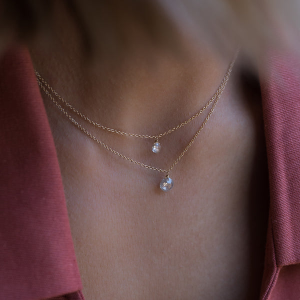 Fine 14K Diamond Rosecut Necklace