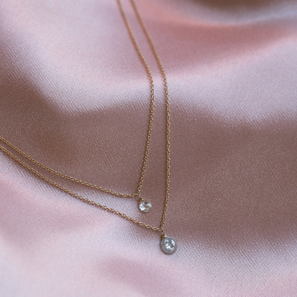 14K Gold Diamond Petite Rosecut Necklace