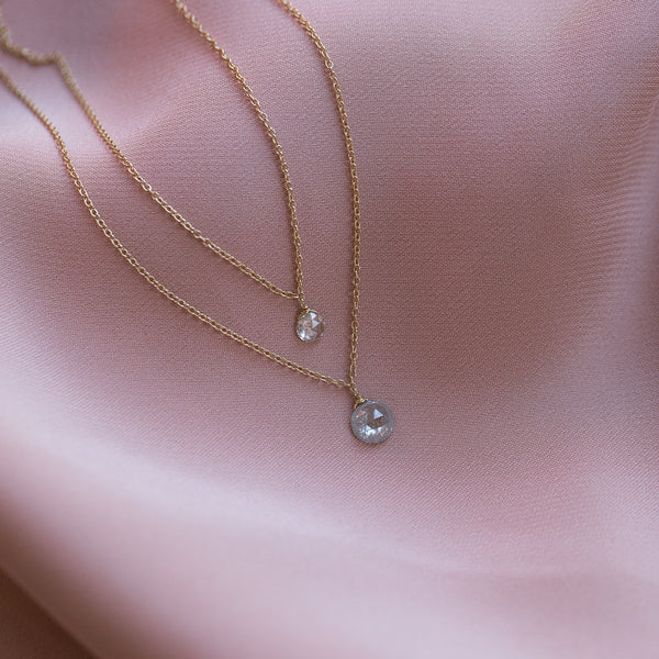 14K Gold Petite Rosecut Diamond Necklace