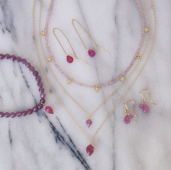 fluency sapphire choker, neckalces on marble, pink, ruby