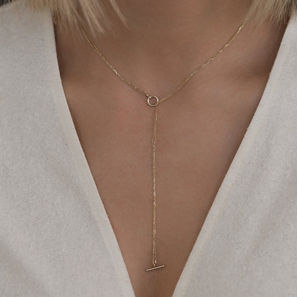 Silken Toggle Necklace in 14K Gold