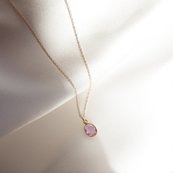 14K Gold Slice Necklace in Pink Sapphire