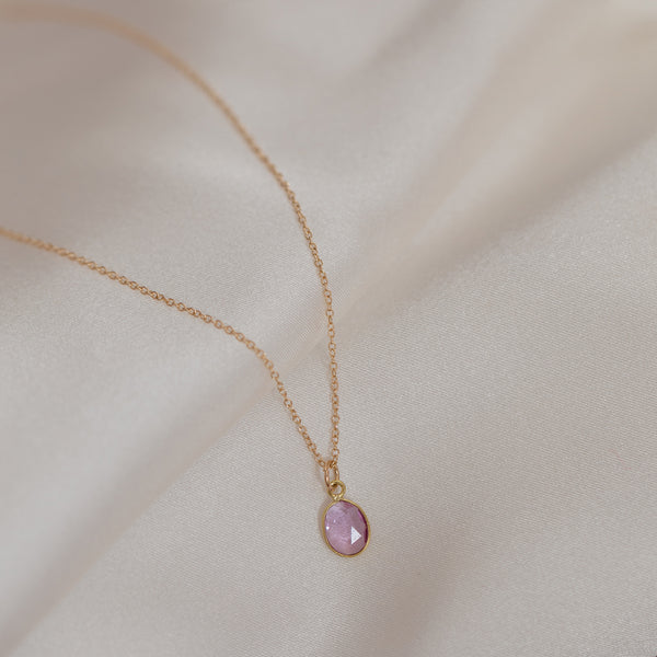 Slice Pink Sapphire 14K Gold Necklace