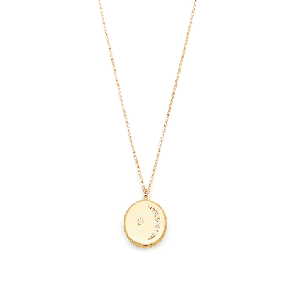 Star moon locket leah alexandra gold locket star moon jewelry on white background necklace on white background aloadofball Gallery