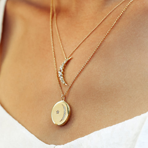 Gold Locket, Star, Moon, CZ, layered necklaces, necklaces on chest, necklaces with white shirt,