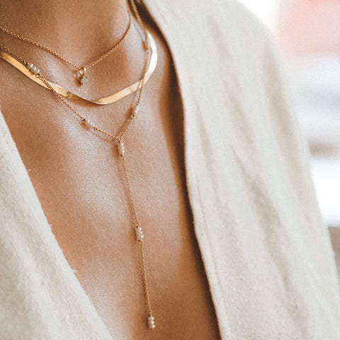 Strand Lariat Necklace | 14k Gold & Pearl