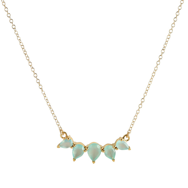sunny aqua chalcedony gold necklace, jewelry on white background