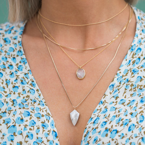moonstone gold necklace layers with floral dress