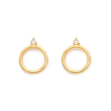 Lightweight Gold and Moonstone Modern Sol Hoops