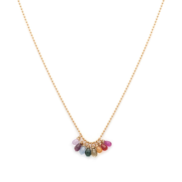 rainbow sapphire gold filled necklace