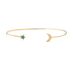 Star Moon Turquoise Cuff