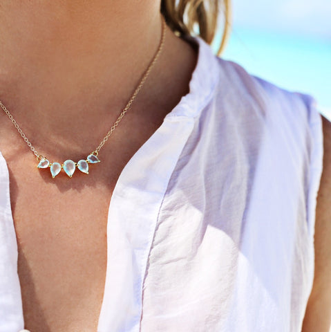 sunny aqua chalcedony gold necklace, beach, blonde hair, white top, tan