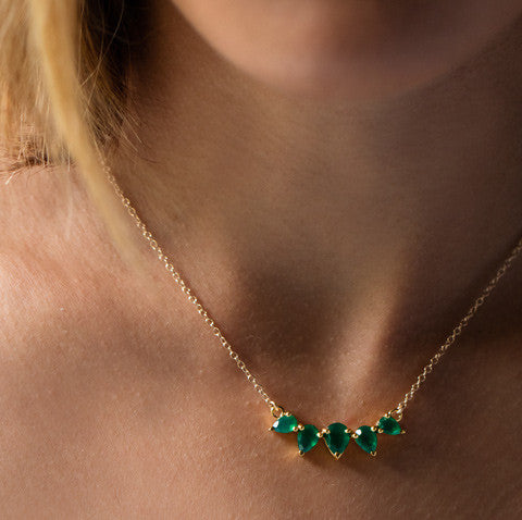Sunny Emerald Necklace, green onyx, gold, blonde hair