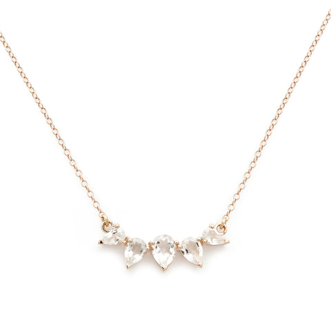 Sunny white topaz and rosegold necklace, rosegold, necklace on what backgrounf