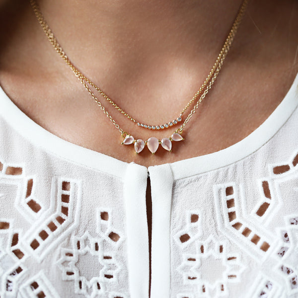 Astro necklace, layered necklaces, white top, rosegold, gold