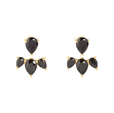 leah alexandra black onyx gold ear jackets