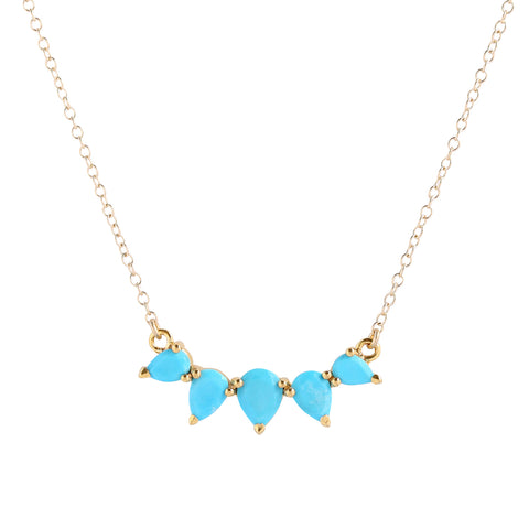 Sunny Turquoise Necklace, gold, jewelry on white background