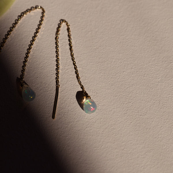 14K Gold Opal Fine Threaders