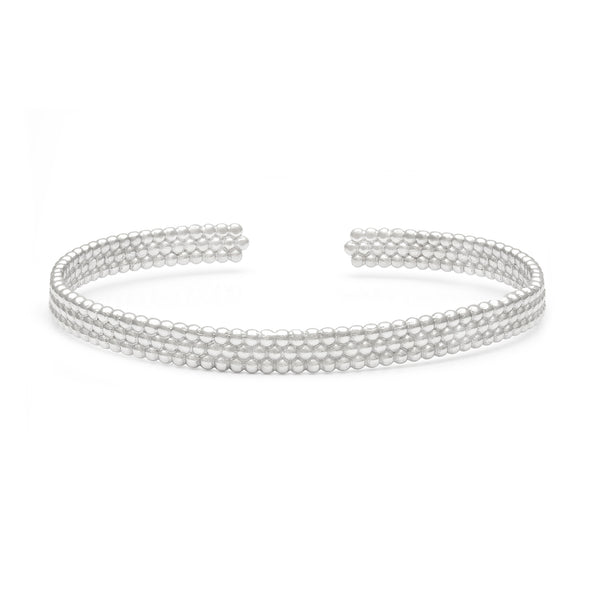 sterling silver bead layering cuff bracelet