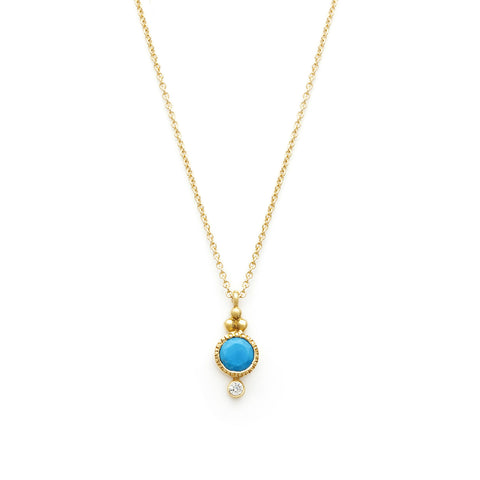 Todos Turquoise Necklace, gold, jewelry on white background