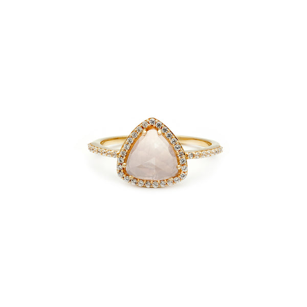 rose quartz cz pave triangle ring