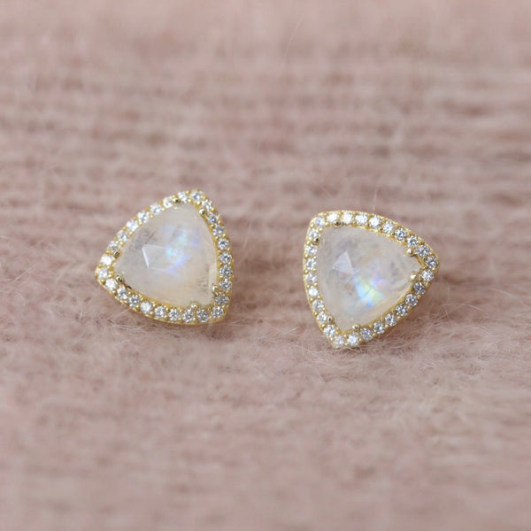 leah alexandra triangle moonstone gold faceted diamond pave studs