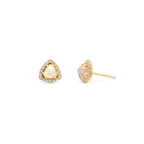 leah alexandra triangle rose quartz gold diamond pave studs