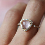 leah alexandra trielle ring rose quartz cz diamond pave