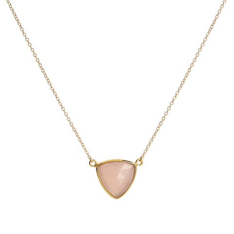 Pink Chalcedony Trillium Necklace