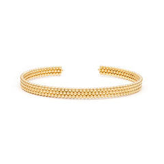 Triple Bead Cuff | Gold