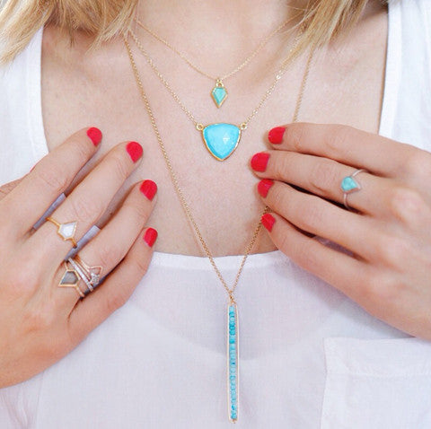 Gem Turquoise Necklace, red nails, layered necklaces, white top, blonde hair, gold