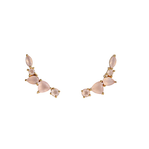 leah alexandra wing ear climbers pink chalcedony