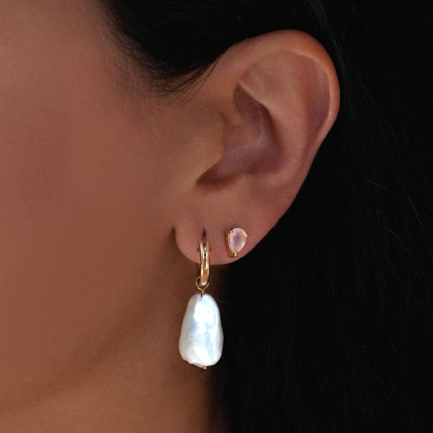 Pear Studs | Rose Pink Chalcedony