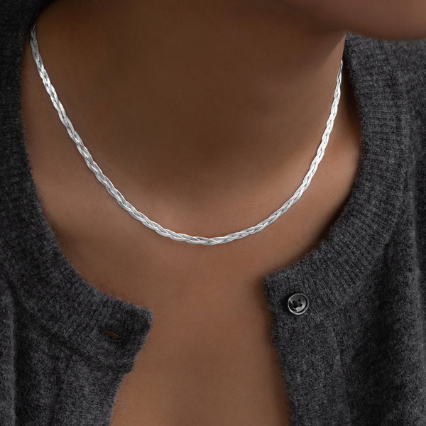 Braided Herringbone Necklace | Silver