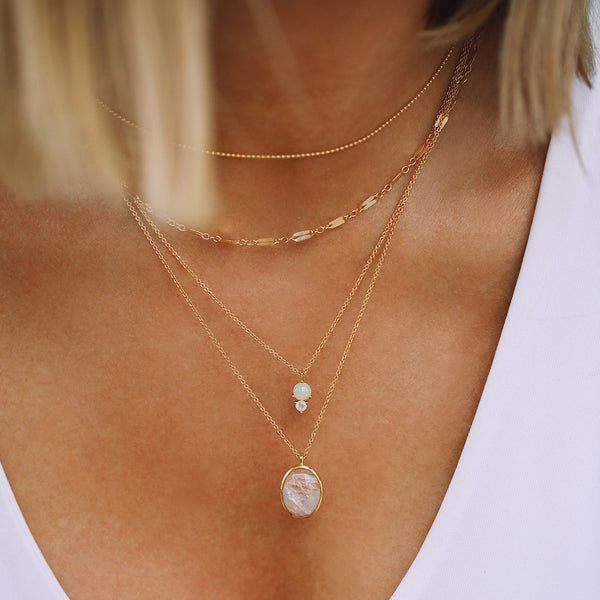 leah alexandra moonstone gold necklace layers